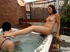 Deviant Female Takes Sissy to Jacuzi as Sex Slave