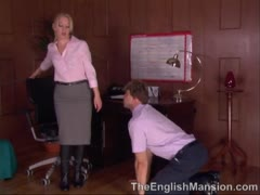 Devine English Bitch Smothers Slaveboy