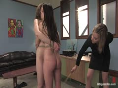 Two Slave Girls Tied Together While Caned