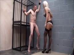 male in bondage slaves receive brutal and painful ball busting