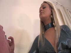 Mistress Athena in tight latex gagging a fat old man