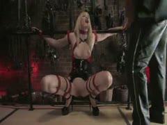 Blonde girl bound and fucked in the ass