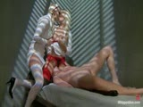 Sex addict dominated and double penetrated by two horny nurses.