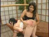 Hot asians in OTK, whipping, breast slapping, forced ass licking