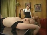 Smokin' blonde gets whipping, OTK, and strap-on sex