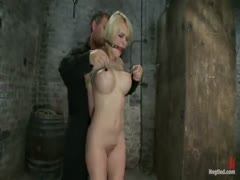 Krissy Lynn and her hard athletic body is tightly bound in a strict hogtied and made to cum over and over!