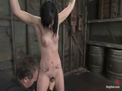 Hot young, shaved amateur, gets bound, gagged, and forced to cum!