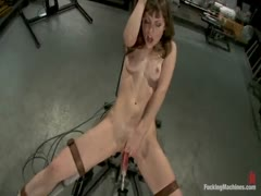 New girl fucks machines on high, screaming orgasms that leave her breathless. She does anal with the fuck saw and has a huge gaping orgasm.