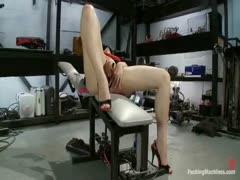 Amateur freshman girl with big ass and hot tits gets spanked by a machine, fucked in her tight pussy and ass with robotic cock.