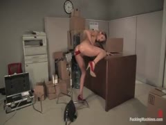 Tiny blonde is machine fucked in ass with huge cock, squirts too