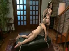 Gorgeous sexy brunette prooves to be a nasty dominating female that loves to give pain to men