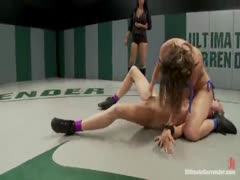 Ariel makes Rain cum on the mat, goes on to brutal victoryNasty submission holds, Rain destroyed