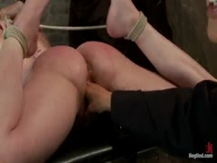 Sucks cock, punished to the limit of her flexibility!