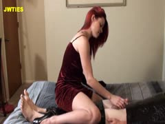 Red Head Bitch Jerks His Cock