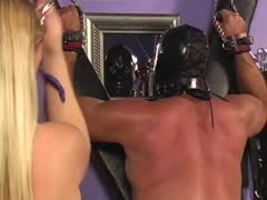 Muscle man turned slaves with a dominant blonde