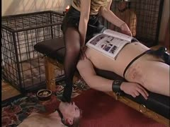 Three slave pigs gets smothered by their domina