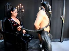 Latex fetish femdom ass spanking her obedient slave