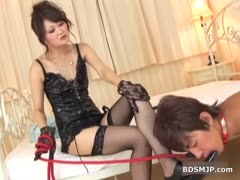 deviant asian mistress plays with her servant