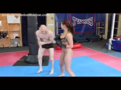 Tough woman fighting man into submission