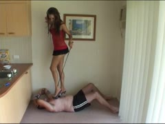 Harsh femdom trample punishment to her servant