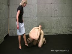 Face slapped and kiss mistress feet