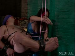 Mean Asian girl hangs a guys and batters his balls