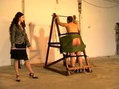 Immobilized man gets his ass hard whipped