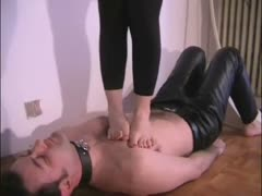 Barefoot trampling and worship from an obedient husband
