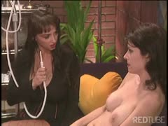 Big tits brunette mistress enema pleasuring her slave