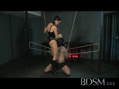 Roudy slave boy bound and tamed