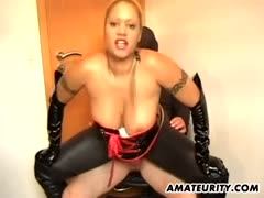 Busty blonde mistress cock rides her slave