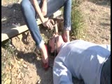Gagged slaves gets fed with a nasty stiletto