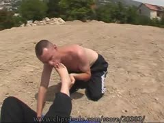 Foot slave cleaning his mistress dirty feet