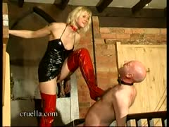 Italian blonde governess tortures a guys testicles