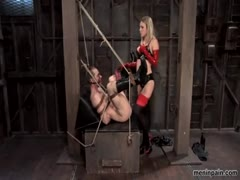 Harmony Rose with strapon anal fucks her male slave