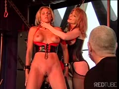 Busty blonde girl in sexy lingerie gets abused