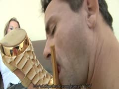 Foot worshipping husband tailoring his wifes need