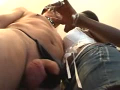 Cruel dominant black girl ball busting her white slave