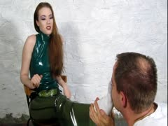 Foot slave being tested and humiliated for the dominas pleasure