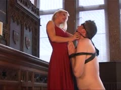 Wicked blonde mistress and her pathetic slave