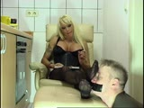 Busty blonde in black stockings smelly feet sniffing