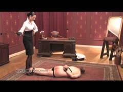 Unforgiving mistress ball breaking and whipping a slave