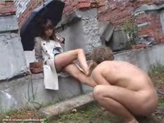 Naked foot slave outdoor worshiping his mistress