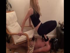 Heel trampling punishment to a lazy slave