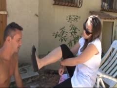 Dirty foot slave serving his mistress