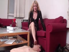 MILF foot worshiping domination to her slave