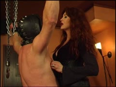 Hot jap cougar in leather whipping away