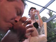 Mistress dirty feet should be clean with slave's mouth