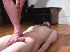 Hard barefoot trampling to a nude slave