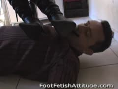 Worshiping boots under the table